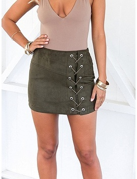 Dark Green Cotton Blend High Waist Eyelet Lace Up Front Mini Skirt by Choies