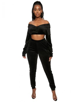 The Cropped Velour Sweat Set by Naked Wardrobe