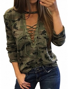 Green Camo Plunge Lace Up Front Long Sleeve T Shirt by Choies