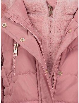 Pink Shower Resistant Hooded Longline Parka by Asda