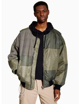 Khaki Cut And Sew Oversized Bomber Jacket by Topman