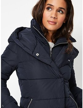 Navy Hooded Padded High Neck Coat by Asda