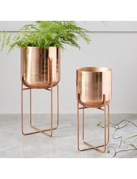 Spun Metal Standing Planter   Copper by West Elm