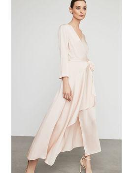 Asymmetrical Satin Wrap Dress by Bcbgmaxazria