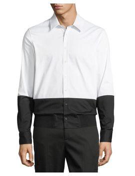 White Men's Two Tone Rib Hem Button Down Shirt by Neil Barrett