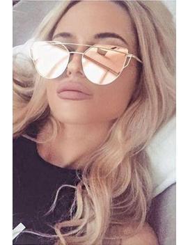 Metallic Frame Mirrored Sunglasses by Lupsona