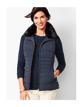 Down Faux Fur Collar Puffer Vest by Talbots