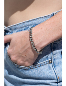 silver-cuban-chain-link-bracelet by brandy-melville