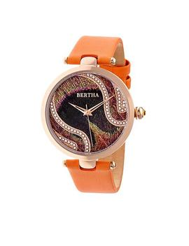 "Bertha ""Trisha"" Multicolor Dial Leather Strap Watch With Silk Overlay by Bertha Watches"