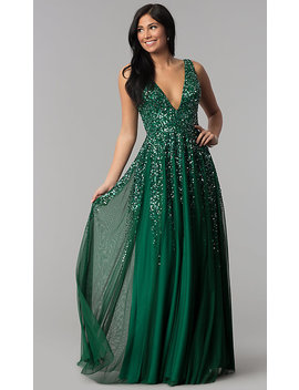 Open Back Deep V Neck Tulle Prom Dress With Sequins by Promgirl