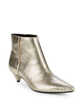 Larissa Shiny Snake Print Booties by Calvin Klein