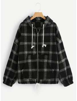 Plaid Drawstring Zip Up Jacket by Romwe