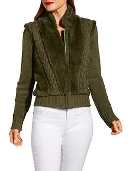 Faux Fur Zip Up Cabled Cardigan by Boston Proper