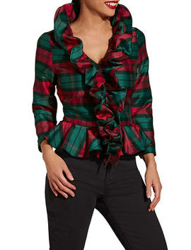 Plaid Ruffle Shirt by Boston Proper