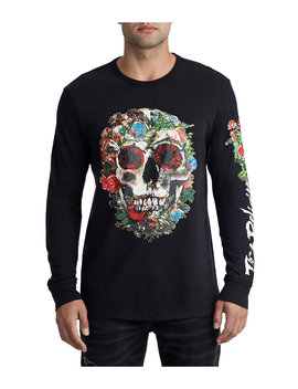 Mens Floral Skull Embroidered Logo Tee by True Religion