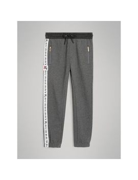 Logo Stripe Cotton Sweatpants by Burberry