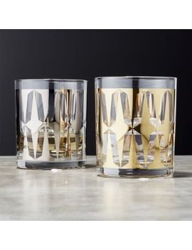 Drake Metallic Double Old Fashioned Glasses by Crate&Barrel