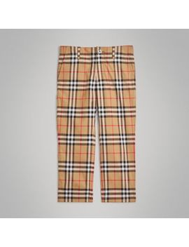 Vintage Check Cotton Tailored Trousers by Burberry