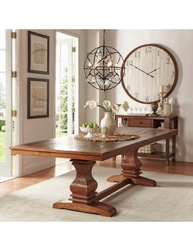 Atelier Burnished Brown Pedestal Extending Dining Table By I Nspire Q Classic by I Nspire Q