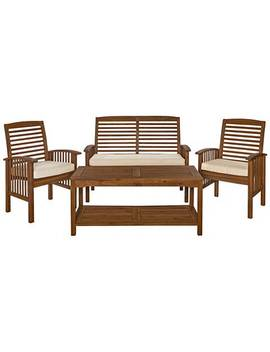 Kevin Dark Brown 4 Piece Patio Conversation Set And Cushions by Lamps Plus