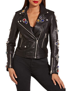 Jeweled Embellished Vegan Leather Jacket by Boston Proper