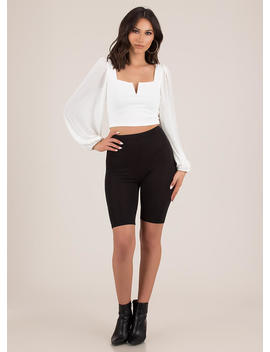 New Romance Puffy Sleeve Crop Top by Go Jane