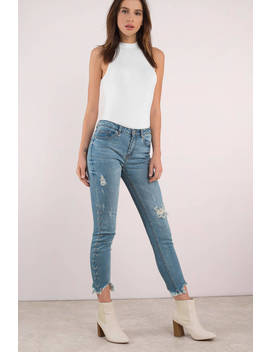 Stella O Ring Medium Wash Distressed Jeans by Tobi