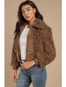 Astr Phoenix Mocha Faux Fur Jacket by Tobi