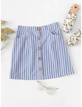 Striped Button Through Skirt by Sheinside