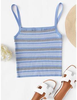 Rib Knit Striped Cami Top by Shein