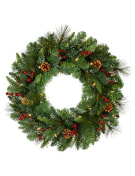 """philips-28""""-christmas-decorated-prelit-artificial-pine-wreath-white-led-lights by philips"""