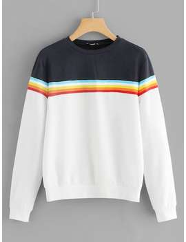 Cut And Sew Striped Sweatshirt by Shein