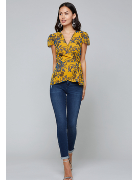 Print Puff Sleeve Wrap Top by Bebe