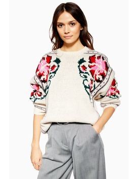 Floral Border Embroidered Jumper by Topshop