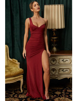 Great Lengths One Shoulder Thigh Split Maxi Dress In Dark Red by Oh Polly