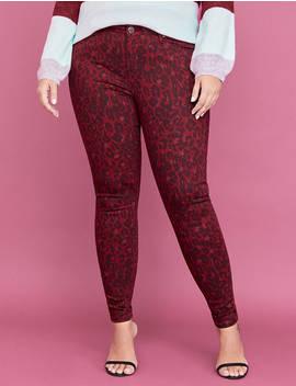Super Stretch Skinny Jean   Red Leopard Print by Lane Bryant