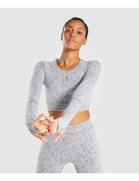 Fleur Texture Long Sleeve Crop by Gymshark