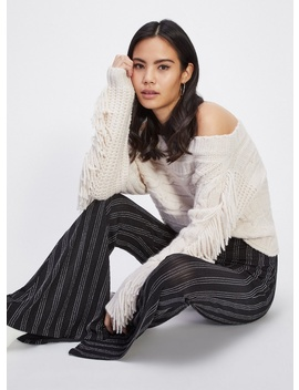 Fringe Cable Bardot Knitted Jumper by Miss Selfridge