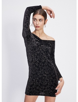 Petite Black Glitter Bardot Dress by Miss Selfridge