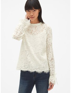 Floral Lace Tie Sleeve Top by Gap