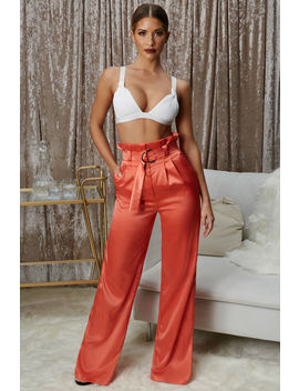 The Flow Down Wide Leg Satin Trousers In Burnt Orange by Oh Polly