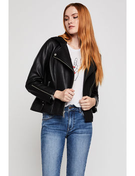 Leather Moto Hoodie Jacket by Bcbgeneration