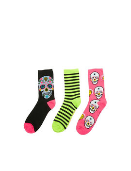 Sugar Skull Halloween Crew 3 Pack by Betsey Johnson