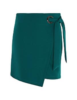 Teal Tie Detail Asymmetric Hem Skirt by Asda