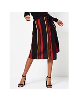 Stripe Wrap Style Midi Skirt by Asda