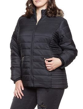 Plus Size Faux Fur Hooded Puffer Jacket by Rainbow