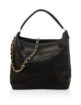 Laser Cut Faux Leather Hobo Bag by Rainbow
