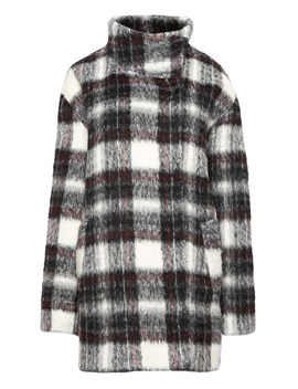 Fuzzy Plaid Cocoon Coat by Banana Repbulic