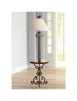 Iron Scroll Wooden Tray Floor Lamp by Lamps Plus