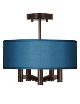 Blue Faux Silk Ava 5 Light Bronze Ceiling Light by Lamps Plus